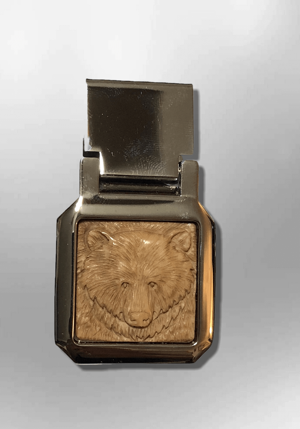 Bone money clip bear head front