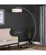 Arc Floor Lamp Arm Silver Round Drum Shade Modern Minimalist Contemporar... - $477.40