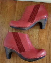 Anthropologie Cider Press Clogs Schuler & Sons Shoes Red Booties Ankle Boots 7 - $87.12