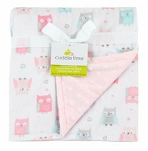 TRIBORO Cuddle Time Owl Valboa Blanket, White/Pink/Gray/Blue Popcorn Minky NEW - $59.37