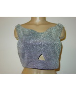 Express silver black crop top belly shortie sissy party keyhole front ba... - $11.79