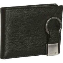 Calvin Klein Ck Men's Leather Bifold Id Wallet Key Chain Set Black 79080 image 1