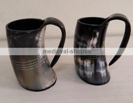 New viking drinking Tankard Medieval Renaissance Horn Beer Wine Mug Pair - $45.82