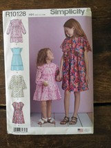 New Uncut SIMPLICITY Pattern R10128 HH Girls Childs Spring DRESS US Size... - $4.85
