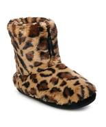 Women's Brown Leopard Faux Fur Zip Bootie Slippers - Medium 7/8 - $30.00