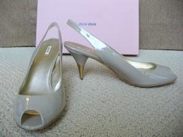 Miu Miu Prada Pumps Peep toe Heels Slingback Nude Patent Leather 40 - $39.55