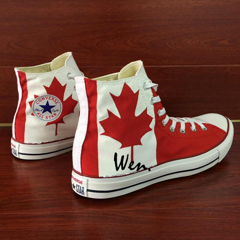 Converse All Star Canada Flag Custom Hand Painted Canvas Shoes Unisex Sneakers