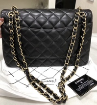 100% Authentic Chanel BLACK QUILTED LAMBSKIN JUMBO CLASSIC DOUBLE FLAP BAG GHW image 2