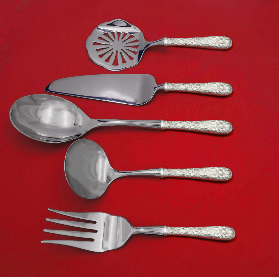 Primary image for Repousse by Kirk Sterling Silver Thanksgiving Serving Set 5-Piece Custom Made