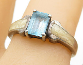 AVON 925 Silver - Vintage Blue Topaz & Mother Of Pearl Band Ring Sz 9 - ... - $25.53