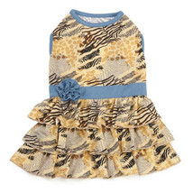 Zack & Zoey Wild Savannah Tiered Dog Dress Jungle Safari Print Pet - $16.99+