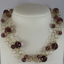.925 RHODIUM SILVER YELLOW GOLD PLATED, MULTI STRAND NECKLACE WITH CRISTALS image 1