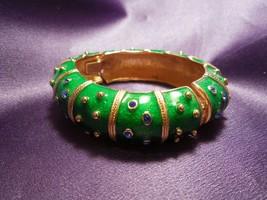 JBK Jaqueline Bouvier Kennedy Green Enamel, Gold Tone Hinged Bangle Brac... - $49.50