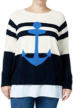 Tommy Hilfiger Womens Plus Woven Striped Crewneck Sweater - £51.22 GBP