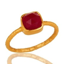 Pink Chalcedony Gemstone 18K Gold Plated 925 Sterling Silver Ring Jewelry - $14.85