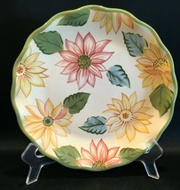 """Longaberger Pottery Floral Bloom 9-1/2"""" Scalloped Edge Luncheon Plate - $14.99"""