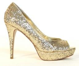 Women's Guess Gaby Gale Glitter Gold Peep Toe Platform Heels Pumps  - $74.99