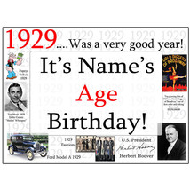 "Happy 90th Birthday (Age 90) FACTS FROM ""1929"" PERSONALIZED DOOR POSTER ... - $19.99"