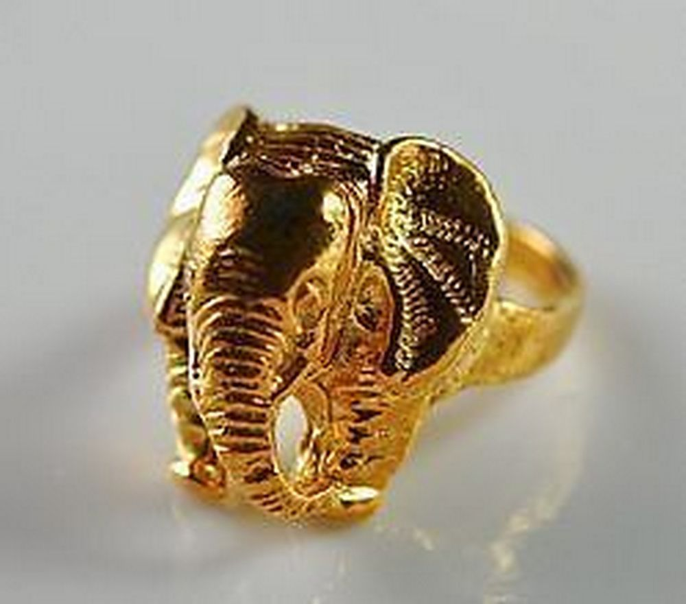 NICE 24K GOLD PLATED OVER REAL Sterling Silver 925 Detailed Elephant Ring Jewelr