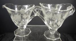 Elegant Glass Era Heisey Sugar & Creamer - Rose Pattern - $2.28