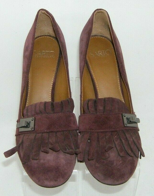Franco Sarto 'Ainsley' purple suede buckle kiltie slip on block heels 7.5M image 7