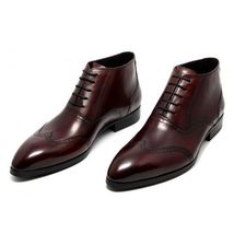 Handmade Men's Brown Wing Tip High Ankle Lace Up Leather Boots image 1