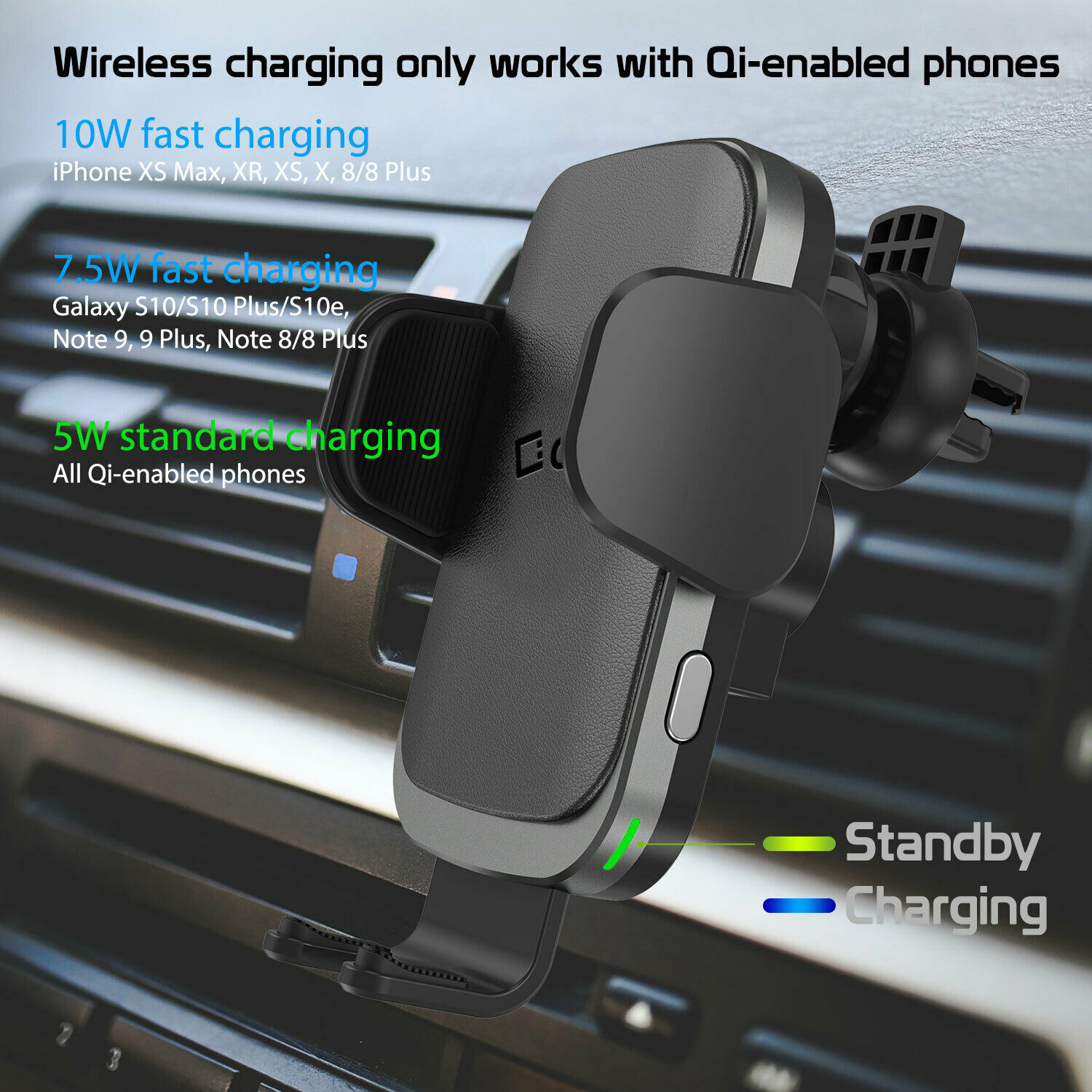 Cellet QI Wireless Fast Charge Phone Mount Dashboard Air Vent for iPhone Note 10 image 7