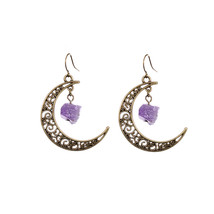 Sedmart Antique Bronze Raw Crescent Moon Natural Stone Earrings Floral H... - £7.59 GBP