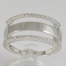 White Gold Ring 750 18k, veretta 3 files with Cubic Zirconium, Square image 1