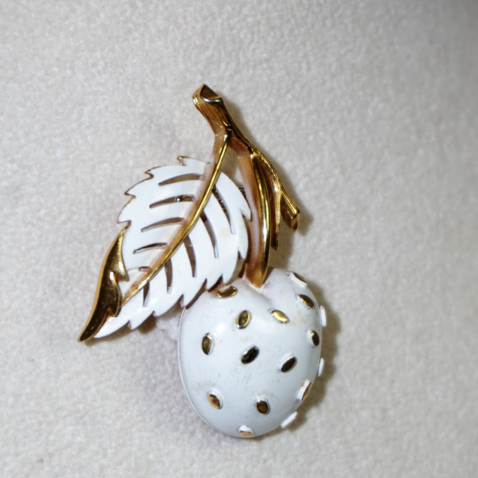 Primary image for Trifari Cherry Pin Brooch Cream / White Cherry Goldtone