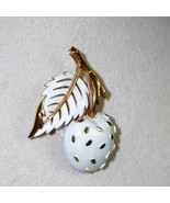 Trifari Cherry Pin Brooch Cream / White Cherry Goldtone - $11.43