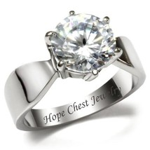 HCJ STAINLESS STEEL 3.35 CT ROUND SOLITAIRE BRIDAL CZ ENGAGEMENT RING SI... - $13.49