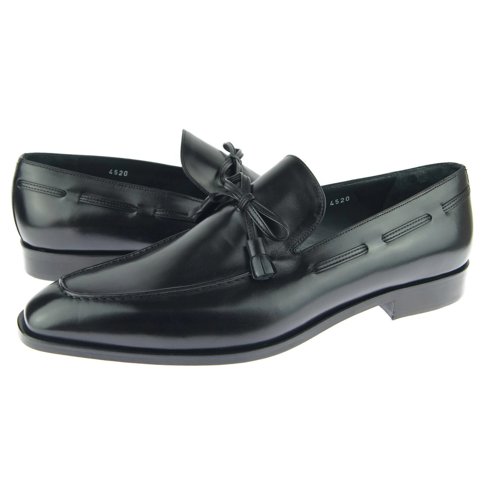 Men Black Color Pointed Apron Toe Handmade Premium Leather Loafers Stylish Shoes