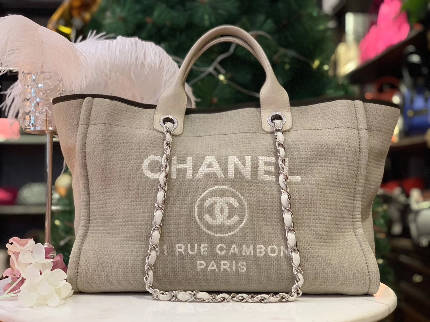 80540bad7ad8 AUTHENTIC CHANEL LIGHT GREY CANVAS LARGE DEAUVILLE 2 WAY TOTE BAG ...