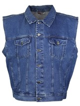 Star Jean Men's Classic Premium Button Up Cotton Denim Jean Vest Blue