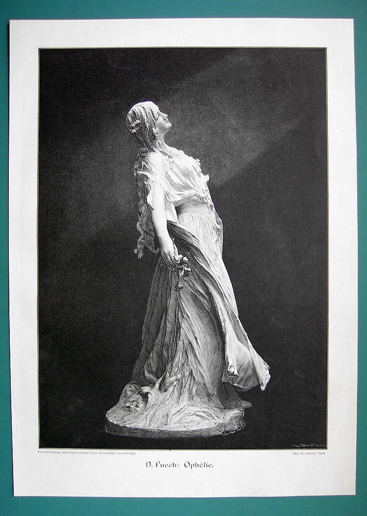 Primary image for LOVELY MAIDEN Shakespeare's Ophelia Sculpture - 1890s Antique Engraving Print