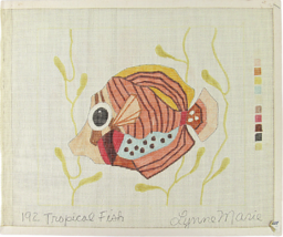 """Vintage 70's Lynne Marie Palm Hand Painted Needlepoint """"192 Tropical Fis... - $26.37"""