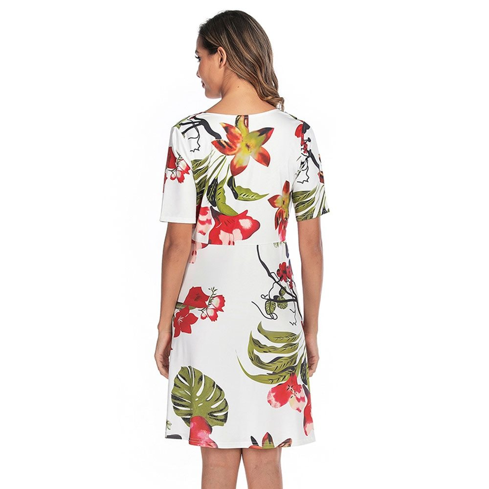 Maternity's Dress V Neck Short Sleeve Floral Print Dress image 4