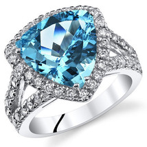 Sterling Silver Trillion Swiss Blue Topaz And Cubic Zirconia Ring W/ Hal... - $179.99
