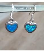 Rare Blue / Green Opal Inlay Heart Dangle Earrings, 925 Silver, 27 x 12 ... - $35.00