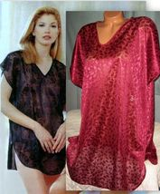 Burgundy Semi Sheer Jacquard Sleepshirt Short Gown 1X 2X 4X Plus Oversized - $16.99