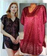 Burgundy Semi Sheer Jacquard Sleepshirt Short G... - $16.99