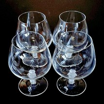 4 (Four) COURVOISIER CRYSTAL COGNAC GLASS / SNIFTER w Frosted Art Deco Stem image 2