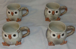 Vintage Fitz & Floyd Porcelain Owl Cups Mugs Set of 4 1978 Japan Hand Painted - $59.99