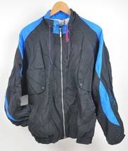 Vintage PUMA Windbreaker Jacket Color block LARGE 100% NYLON Black/Blue/Magenta - $21.04