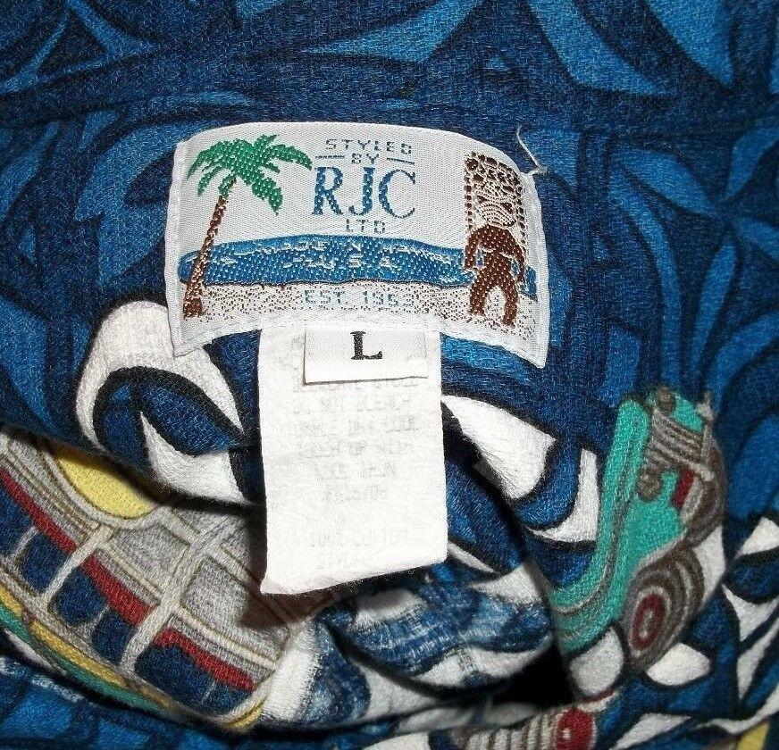 RJC Hawaiian Barkcloth Shirt Mens Large Surfboard Woody Vintage Cars Rockabilly image 6
