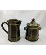 The Pfaltzgraff Pottery Green Creamer Sugar Dish 133 134 USA - $18.14