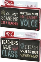 Teachers Superpower Chalkboard Sayings 4 Piece Absorbent Ceramic Coaster Set