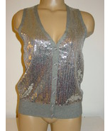 Fossil Women's Gray Knit Vest Top Silver Sequins Front Buttons Sissy-M NEW - $17.26