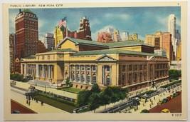Vintage Old Linen Era Postcard Public Library New York City NY Colourpic... - $11.75